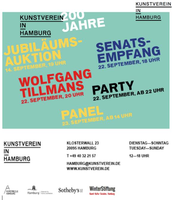 Wolfgang Tillmans Kunstverein Hamburg 200 Jahrfeier - Wolfgang Tillmans - Kunstverein Hamburg 200 Jahrfeier