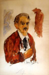 Bouzianis self portrait watercolour 197x300 - Gallery