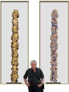 Jacobi vor zwei Entwuerfen seiner neueren Saeulen und Ringserie die entwuerfe sind inzwischen ausgefuehrt und in Eisen gegossen 2015 3 225x300 - Peter Jacobi - Retrospective MNAC Bucharest